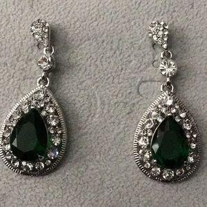 Silver w/Rhinestone & Green Teardrops Earrings